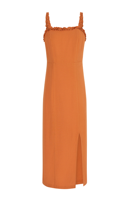 Sleeveless midi dress with slit detail orange