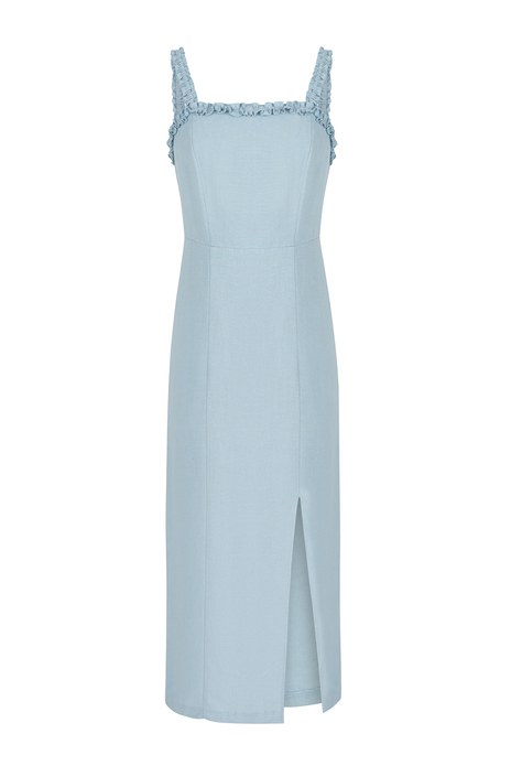 Sleeveless midi dress with slit detail-blue