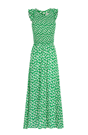 Sleeveless midi dress with elastic waist green