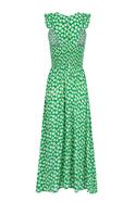 Sleeveless midi dress with elastic waist green