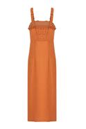 Sleeveless midi dress with slit detail orange