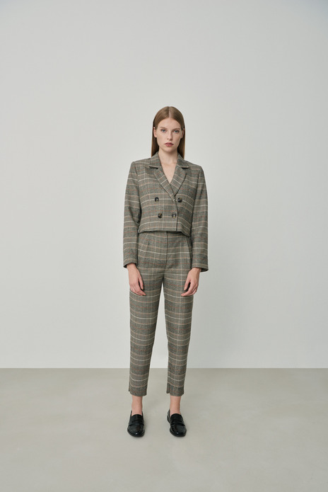 High-waist checked trousers