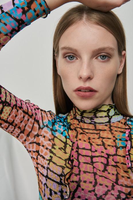 Printed rollneck mesh blouse