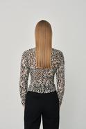 Draped mesh rollneck blouse  beige