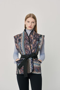 Printed vest with belt detail purple