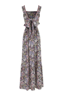 Maxi floral print dress with bow detail and ruffled sleeves