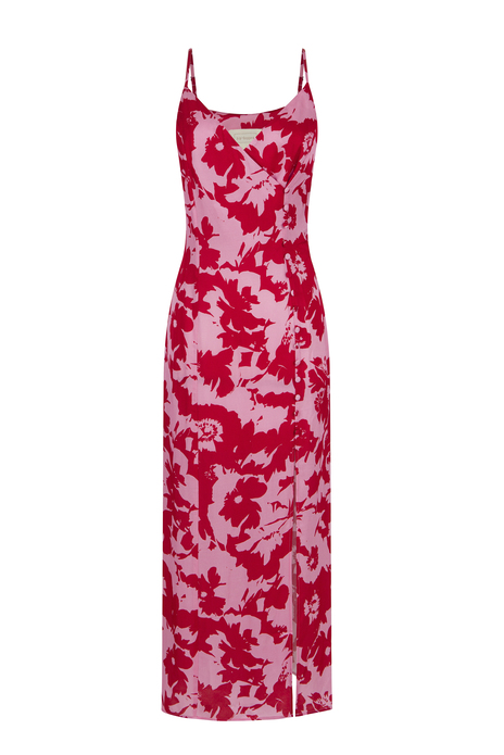 Side Buttoned Patterned Midi Red Dress with Hanger