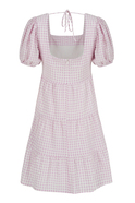 Pink and white gingham backless midi dress