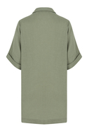 Loose fit long shirt dress with short sleeves