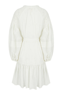 Embroidered balloon sleeve mini dress belted with bow