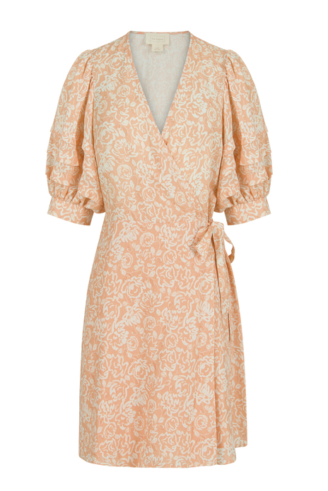 Peach print wrap dress belt detail