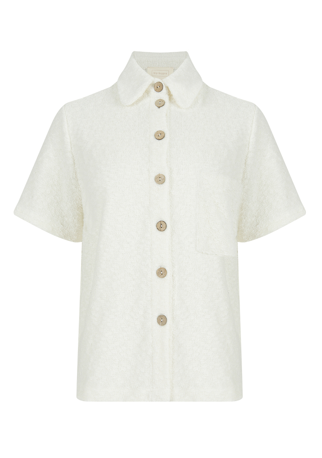 Towelling shirt with chest pocket