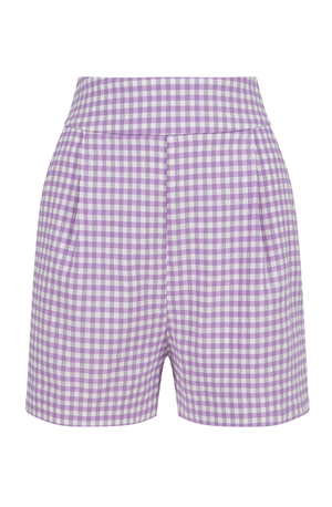High-waisted lilac and white shorts with gingham pockets