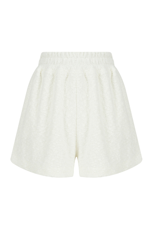 Towel fabric shorts with elasticated belt side splits