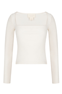 Square Cut Collar Long Sleeved White Blouse