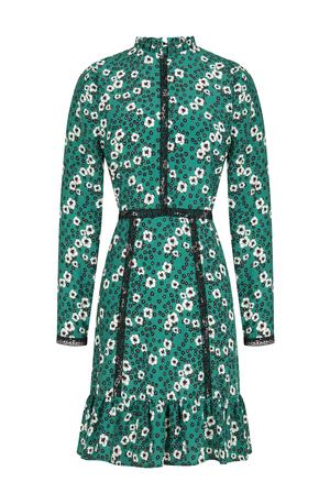 Etek Ucu Volanlı Yüksek Yakalı Bele Oturan Mini Yeşil Desenli Elbise