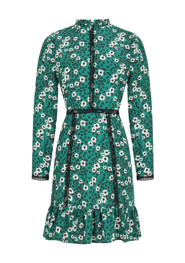 Ruffled Hemline High Collar Green Mini Dress
