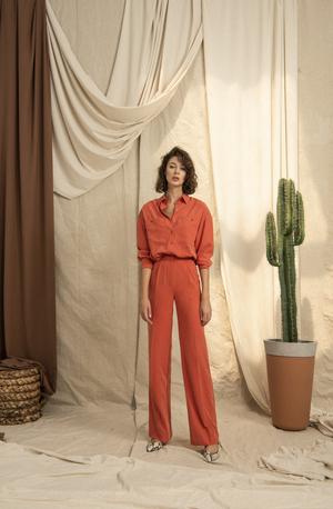 Yüksek Belli Bol Paçalı Üç Renk Oranj Pantolon