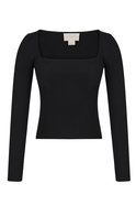 Square Cut Collar Long Sleeved Black Blouse
