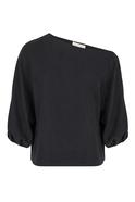 One Shoulder Wide Cut Black Blouse
