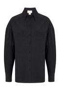 Solid Color Long Sleeve Double Pocket Black Shirt
