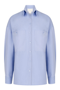 Solid Color Long Sleeve Double Pocket Blue Shirt