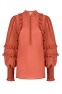 Frilled Shoulder Buttoned Collar Elastic Sleeve Orange Shirt