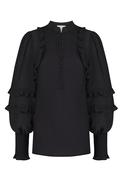 Frilled Shoulder Buttoned Collar Elastic Sleeve Black Shirt