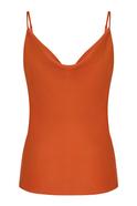 Cowl Neck Strappy Orange Blouse