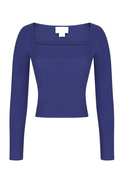 Square Cut Collar Long Sleeved Purple Blouse