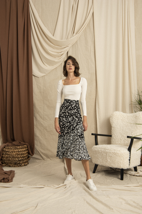 Asymmetrical Patterned Midi Skirt