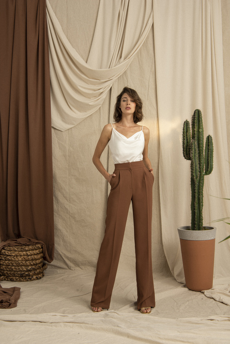 High Waist Wide Leg Cinnamon Pants
