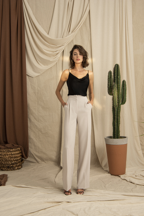 High Waist Wide Leg Grey Pants