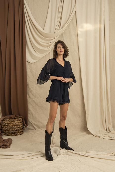Ruffled Cuff Wide Cut Dark Blue Mini Jumpsuit