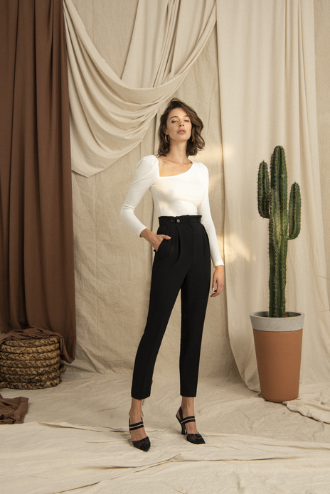 Buttoned Hight Waist Black Cigarette Pants
