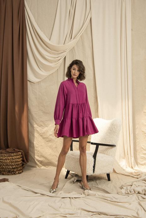 Frilled Hemline Button Detailed Dolid Color Mini Dress Fuschia