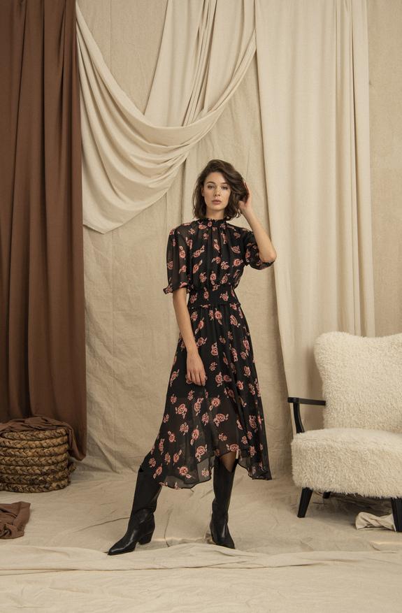 Asymmetrical Hemline Elastic Waist Hight Collar Pink Midi Dress