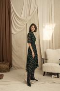 Asymmetrical Hemline Elastic Waist Hight Collar Green Midi Dress