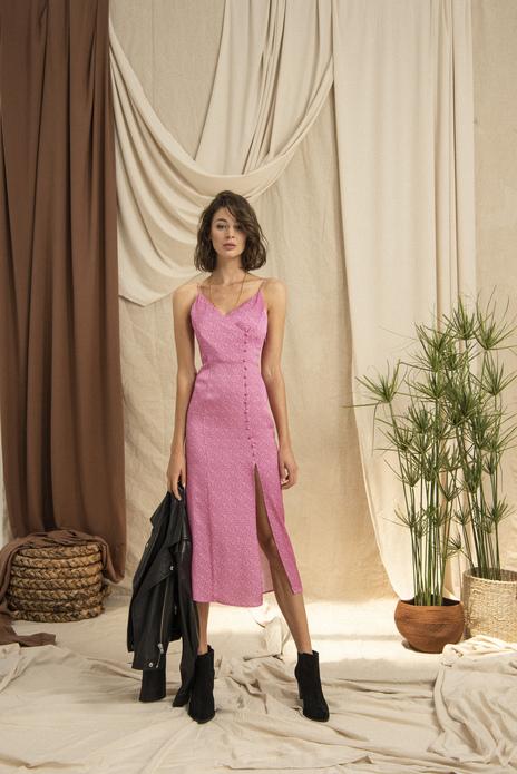 Yandan Düğmeli Desenli Askılı Midi Elbise Pembe