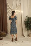 Frilled Sleeve Patterned Midi Dress Blue