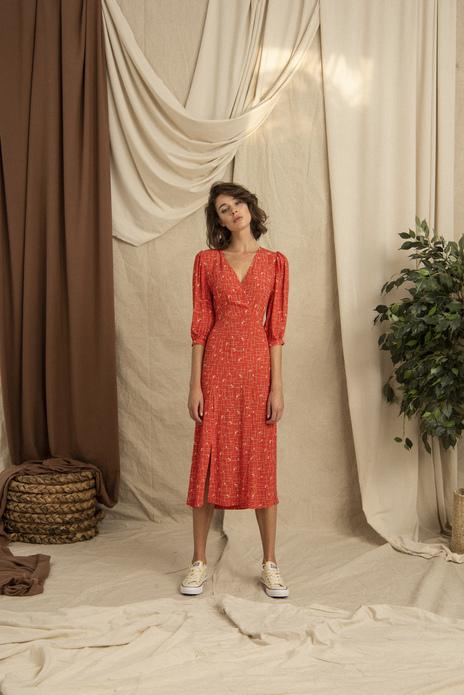Frilled Shoulder Wrapped Orange Midi Dress
