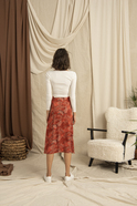 Slash Detailed Red Patterned Midi Skirt