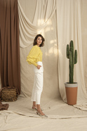 Frilled Shoulder Buttoned Collar Elastic Sleeve Yellow Shirt