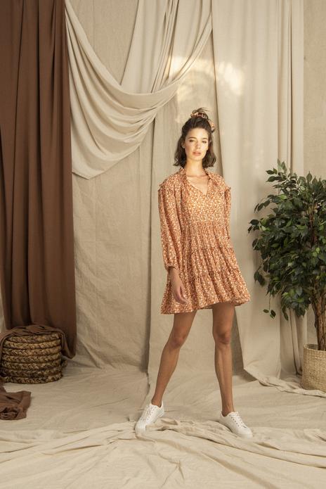 Ruffled Skirt Frilled Sleeve High Collar Mini Dress Orange
