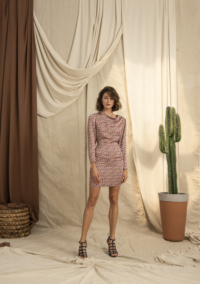 Cowl Neck Long Sleeved Patterned Mini Dress Pink