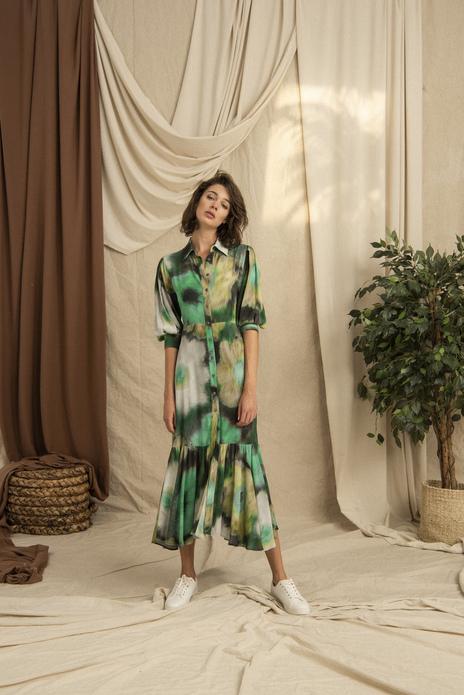 Wide Frilled Hemline Batik Printed Long Dress Green