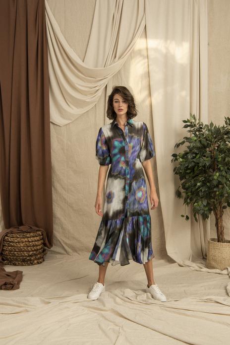 Wide Frilled Hemline Batik Printed Long Dress Purple