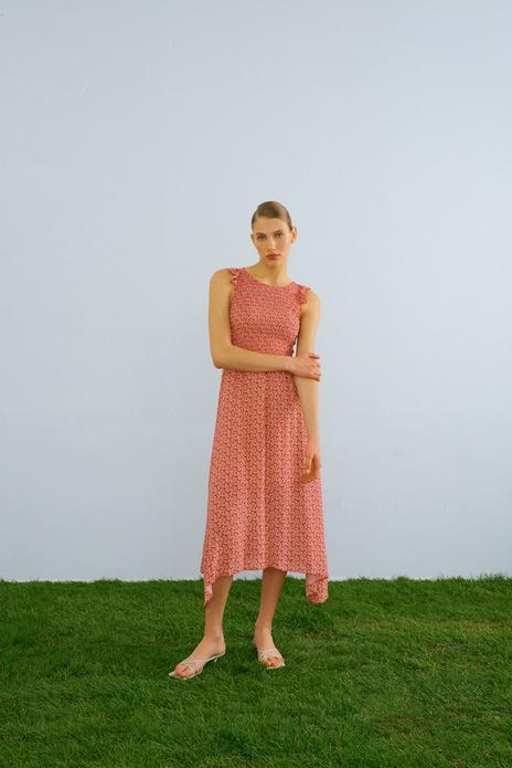 Sleeveless midi dress with elastic waist red