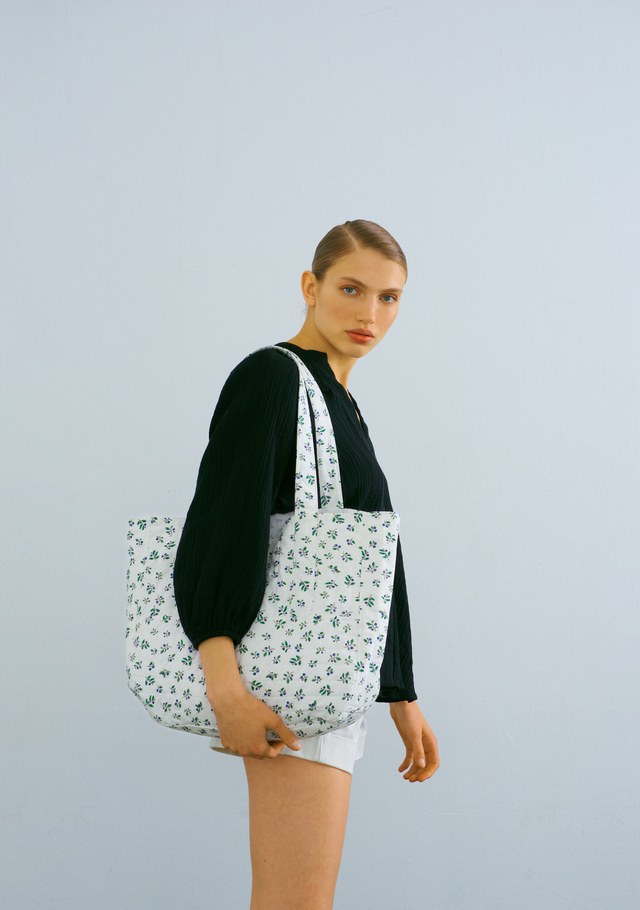 Flower Print Quilted White Tote Bag