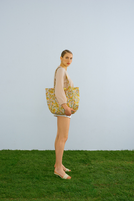 Flower Print Quilted Yellow Tote Bag